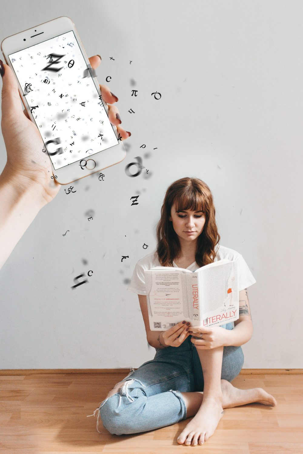 girl reading book with letters coming out of book for a blog post on Dyslexia