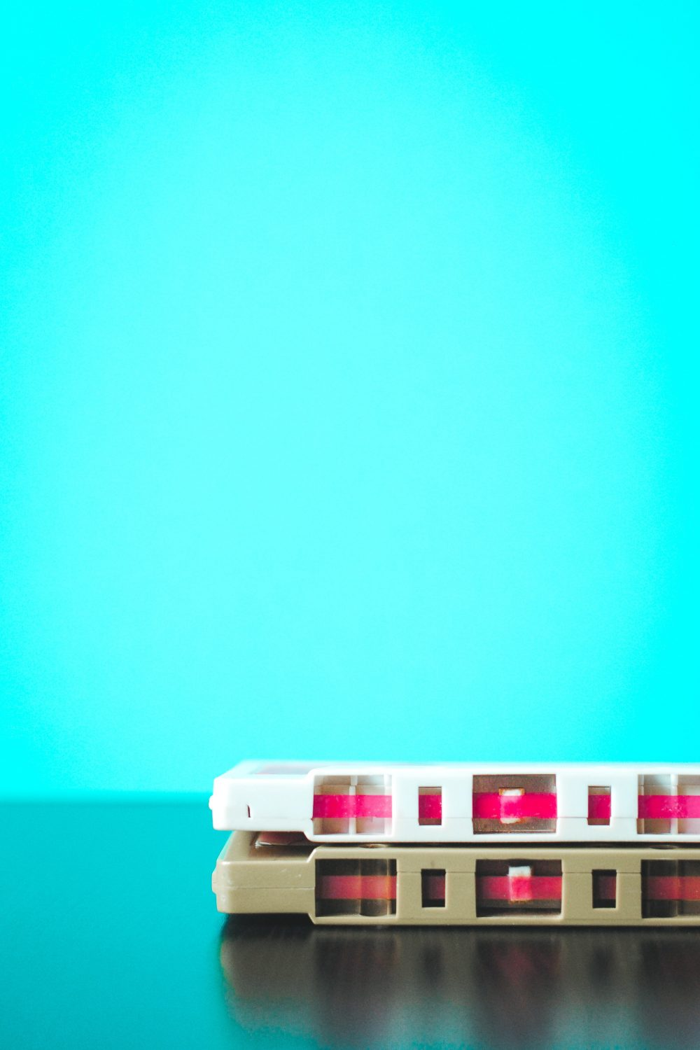 Old retro tapes on a blue background